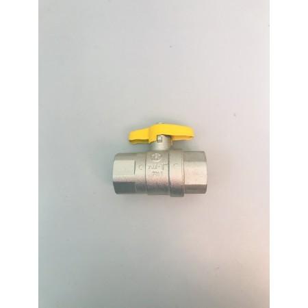 Vanne à gaz à passage intégral, avec poignée à ailette jaune, jusqu\'à PN 4, F x F